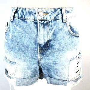 Zara denim shorts high rise distressed